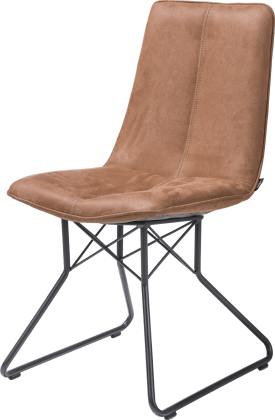 chaise - pied metal couleur off black - kibo cognac / coffee