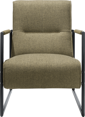 easy chair with metal off black armrest