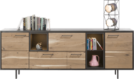 dressoir 220 cm - 2-deuren + 2-laden + 3-niches (+ led)