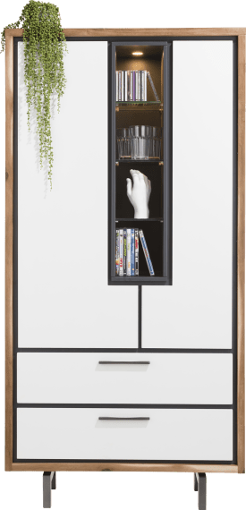 armoire 95 cm - 2-portes + 2-tiroirs + 4-niches (+ led)