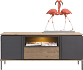 lowboard 140 cm - 2-portes + 1-tiroir + 1-niche (+ led)