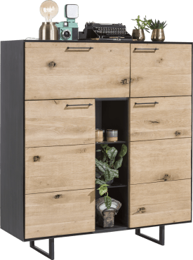 highboard 3-portes + 1-porte rabattante + 3-niches- 125 cm (+ led)