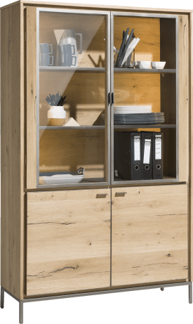 vitrine 110 cm - 2-portes en verre + 2-portes (+ led)