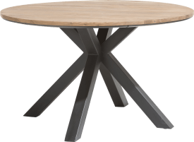 dining table round 130 cm - solid oak + mdf