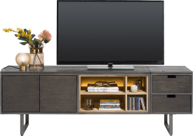 lowboard 140 cm - 2-deuren + 4-niches (+ led)
