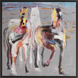 schilderij galop on the prairie - 95 x 95 cm