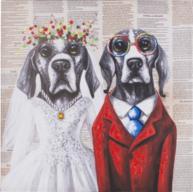bild dog wedding - 75 x 75 cm
