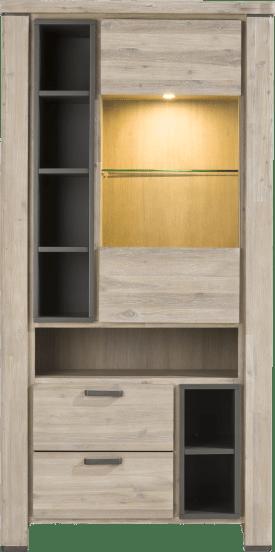vitrine 100 cm - 1-glasdeur + 2-laden + 7-niches (+ led)