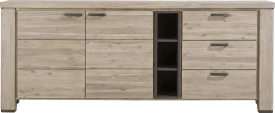 dressoir 225 cm - 2-deuren + 3-laden + 3-niches
