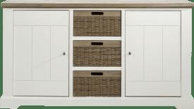 onderkast buffet/dressoir 2-deuren + 3-manden - 155 cm