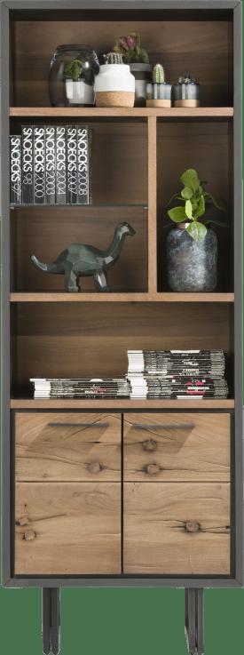 boekenkast 70 cm - 2-deuren + 5-niches