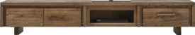 meuble tv 220 cm 2-portes rabattantes + 1-tiroir + 1-niche - bois