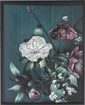 painting with metal bouquet - 73 x 90 cm
