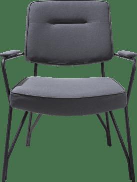 bijzetfauteuil zwart frame + stof lana / lederlook tatra