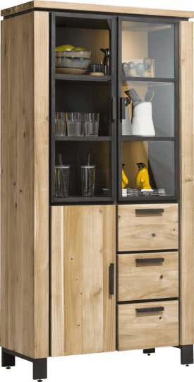 bergkast 100 cm - 2-glasdeuren + 1-deur + 3-laden