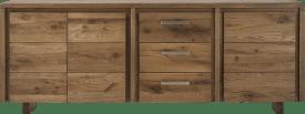 buffet 220 cm - 3-portes + 3-tiroirs - pieds bois