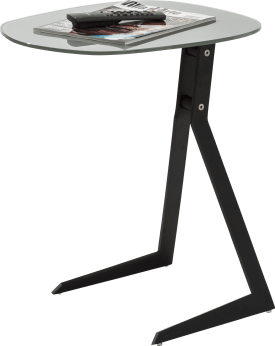 laptop tafel 50 x 44,5 cm + frame zwart + top glas grijs