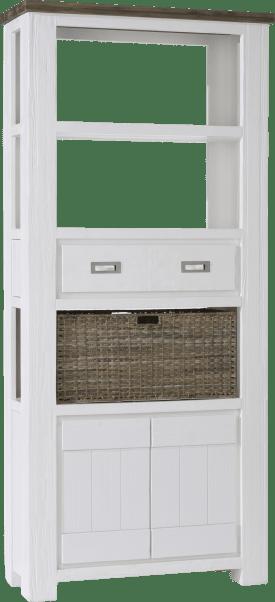 boekenkast hoog 2-deuren + 1-lade + 3-niches + 1-mand - 90 cm