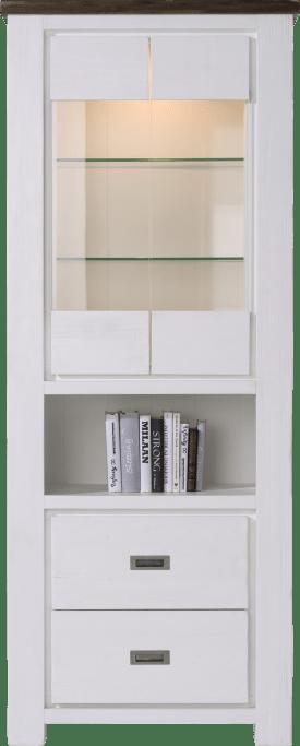 vitrine hoog 2-glasdeuren + 2-laden + 1-niche - 80 cm(+ halogeen)