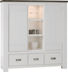 highboard 2-deuren + 3-laden + 3-niches - 140 cm (+ halogeen)