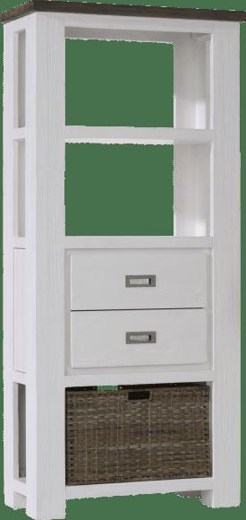 boekenkast laag 2-laden + 3-niches + 1-mand - 75 cm