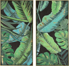painting 2-part banana leafs - 50 x 100 cm - frame gold