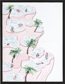 bild hanging gardens - 70 x 90 cm - schwarzem rahmen