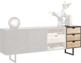 parti attacher buffet 50 cm - 3 tiroirs reversibles
