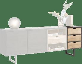 aankoppelbare module dressoir 50 cm - 3 omkeerbare laden