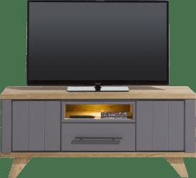 lowboard 140 cm - 1-tiroir + 1-niche + 2-portes rabattantes (+ led)