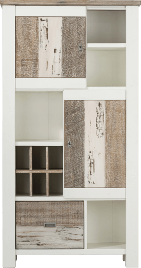 armoire 2-portes + 1-corbeille + 4-niches + 6-niches de vin - 100 cm