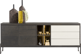 dressoir 240 cm - 2-deuren + 3-laden + 4-niches (+ led)