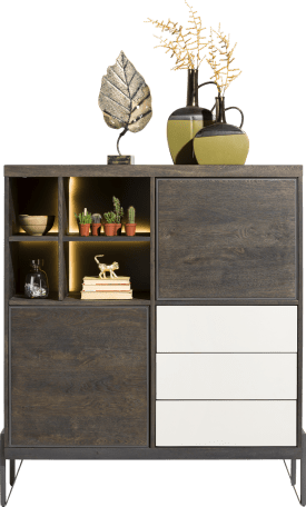 highboard 125 cm - 2-tueren + 3-laden + 4-nischen (+ led)