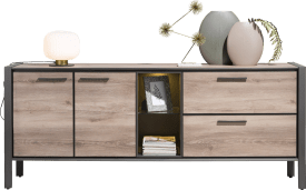 dressoir 210 cm - 2-deuren + 2-laden + 2-niches (+ led)