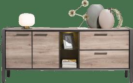sideboard 210 cm - 2-tueren + 2-laden + 2-nischen (+ led)