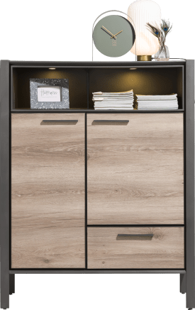 highboard 110 cm - 2-deuren + 1-lade + 2-niches (+ led)