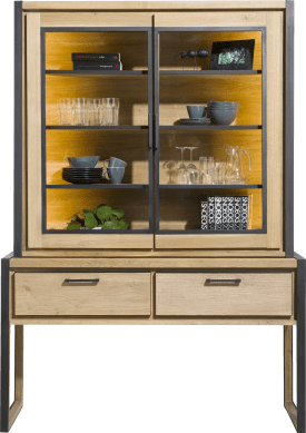 buffet 140 cm - 2-glastueren (+ led) + 2-laden