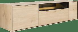 lowboard 180 cm. - a suspendre + 1-porte + 1-tiroir + porte rabattante + 1-niche + led