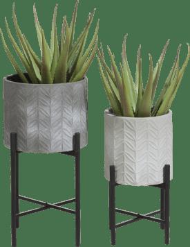 2 pots a fleurs carina - hauteur 46 cm & 58 cm