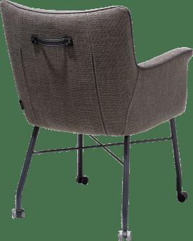 fauteuil avec roulettes + ressorts ensaches - avec poignee en catania noir - tissu vito
