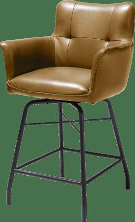 chaise de bar - avec poignee en catania noir - cuir laredo