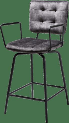 chaise de bar avec accoudoirs - off black - tissu karese