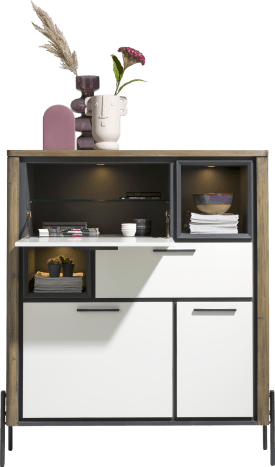 highboard 125 cm- 2-portes +1-tiroir +1-porte rab. +2-niche (+led)