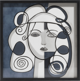 3-d wand-object abstract face - 60 x 60 cm