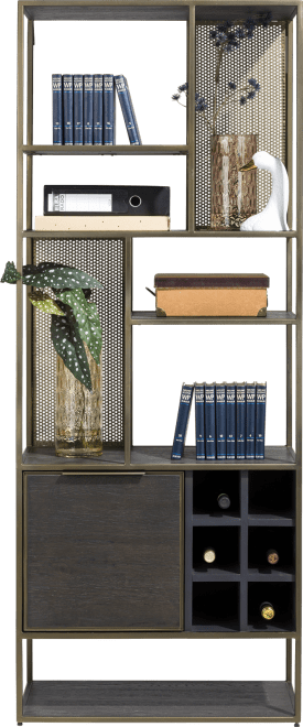 bibliotheque 70 cm. - 1-porte + 6-niches + 6-ranges bouteilles