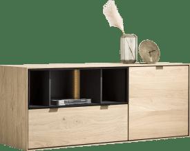 dressoir 150 cm. - 1-deur + 1-lade + 3-niches + led