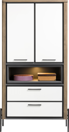 armoire 100 cm - 2-portes de verres + 2-tiroirs + 1-niche (+ led)