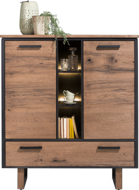 highboard 125 cm. - 2-deuren + 2-laden + 3-niches (+ led)