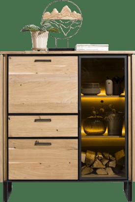 highboard 125 cm - 1-glasdeur + 2-deuren + 1-lade + led