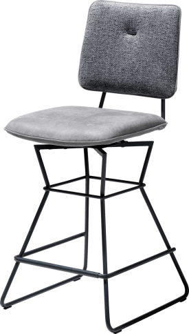 chaise bar - cadre noir - kibo anthracite / fantasy - passepoil kibo anthracite